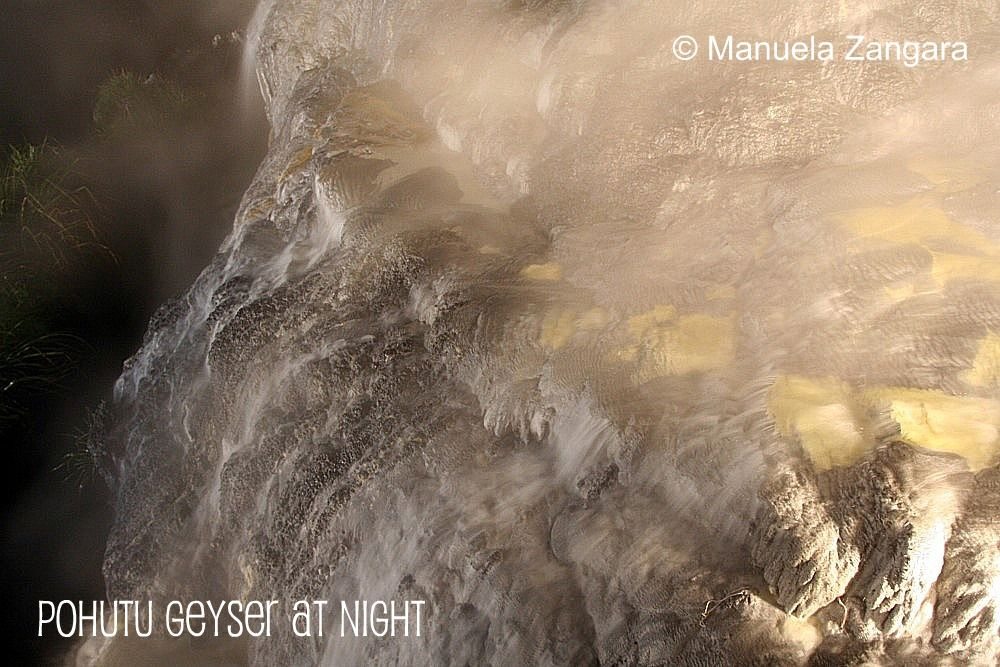 Pohutu Geyser at night