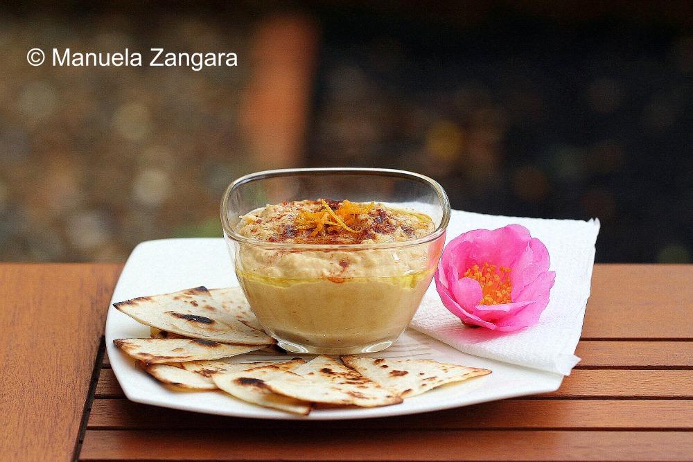 Orange Hummus with tortilla chips
