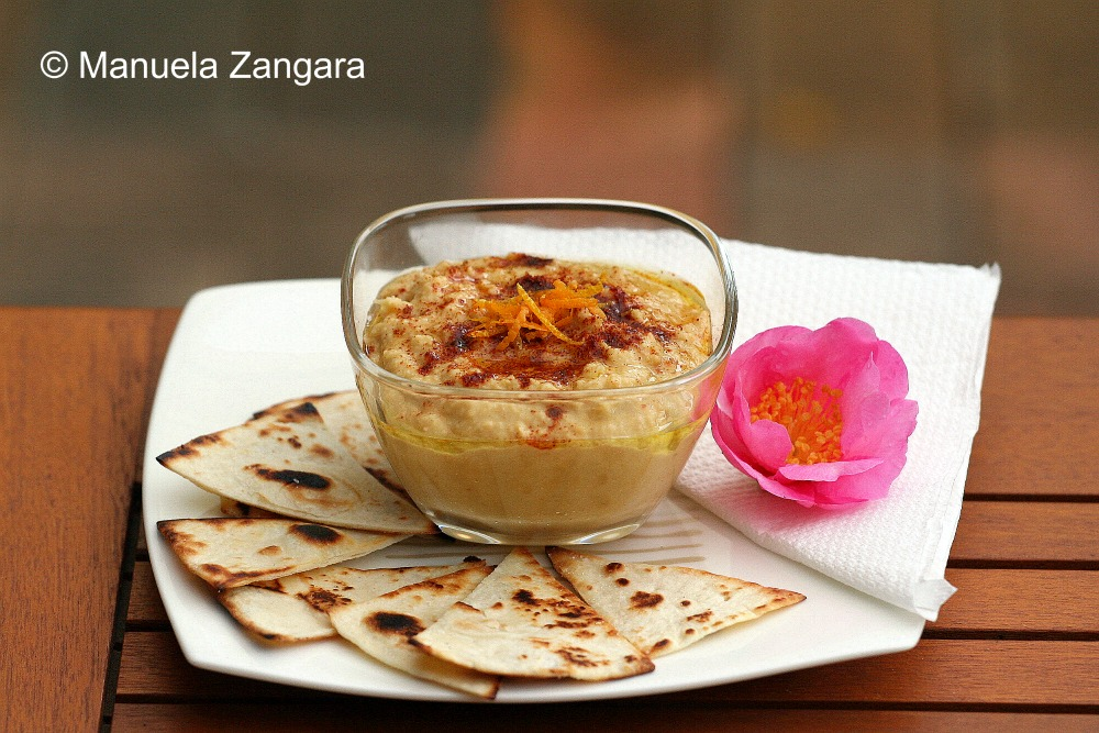 Orange Hummus with tortilla chips