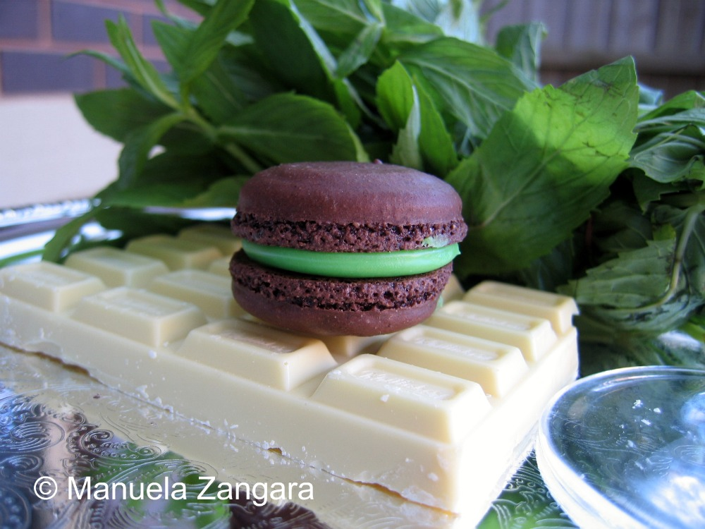 Macarons with white chocolate and mint ganache