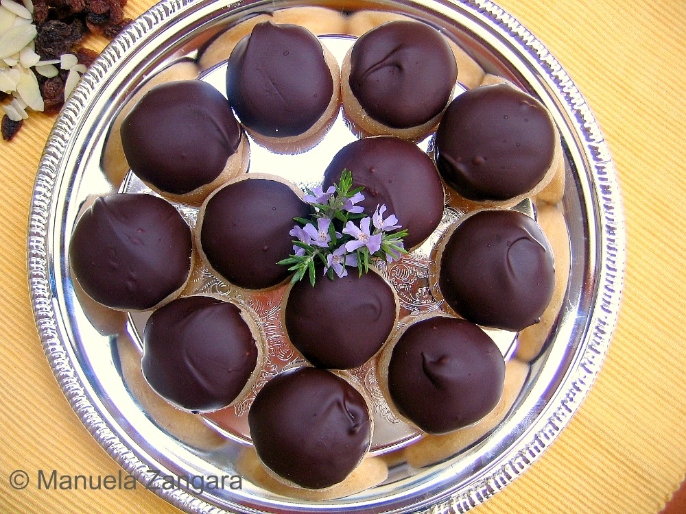 Chocolate Covered Marzipan Rum Balls