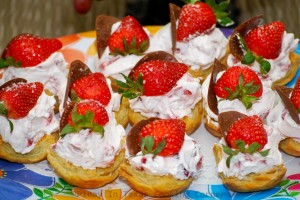 Strawberries & Cream in Puff Pastry Cups