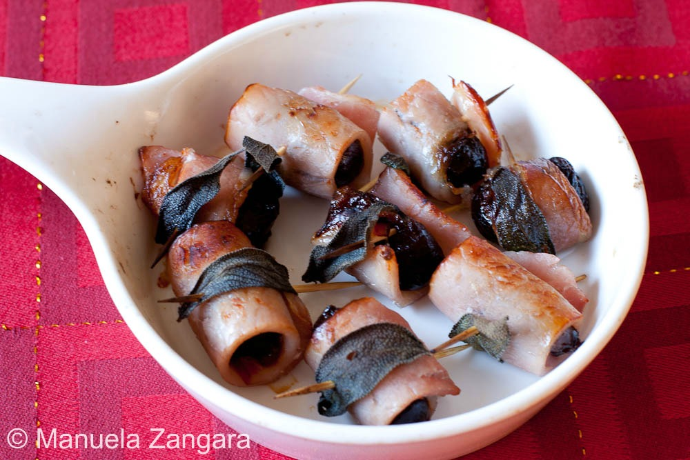 Christmas in July 2011 - Warm baked prunes wrapped in bacon and sage