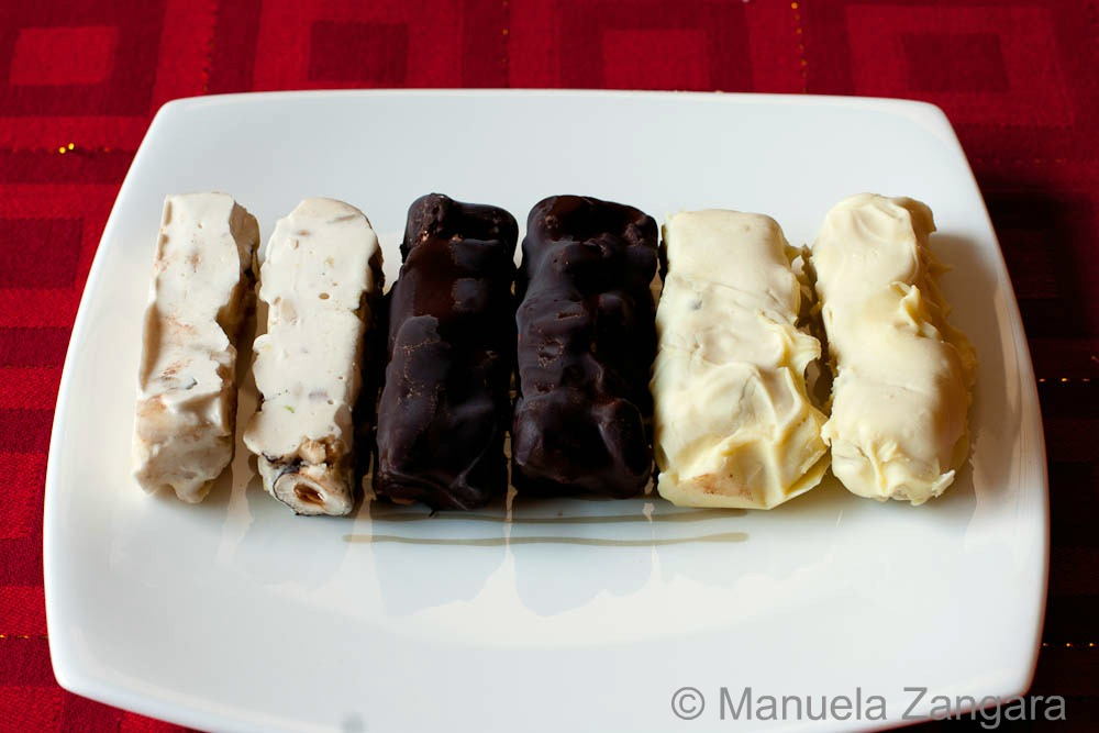 Chocolate covered honey and mixed nut nougat
