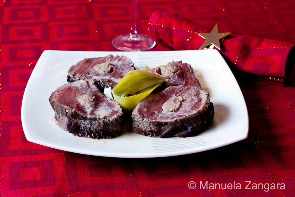 Beef fillet roast stuffed with puréed chestnuts