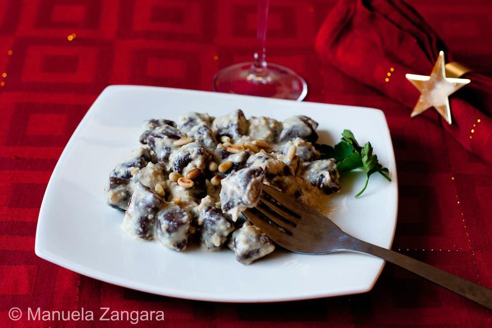 Cocoa Gnocchi with mascarpone and walnut sauce