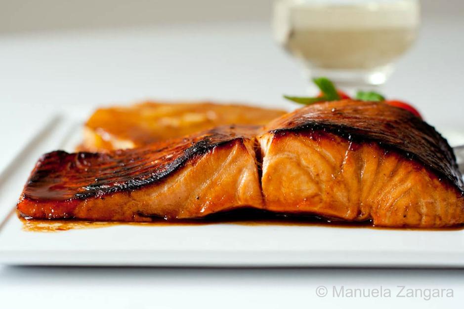 Salmon with pomegranate molasses glaze