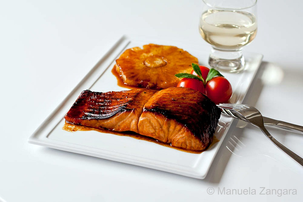Salmon with pomegranate molasses glaze