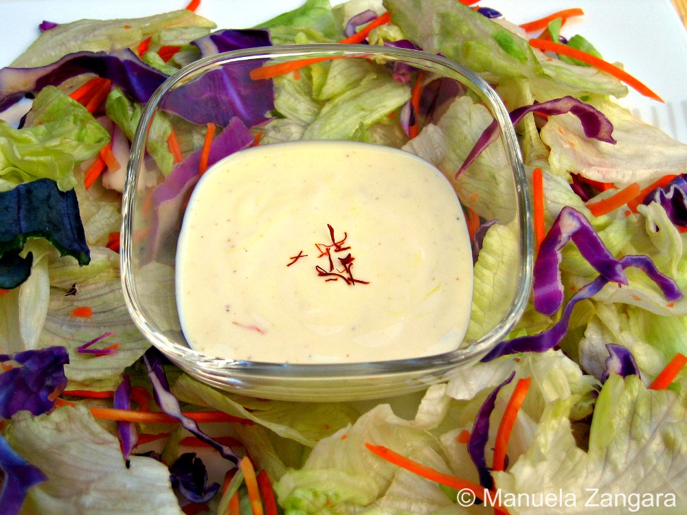 Mixed Salad with Yoghurt and Saffron Dressing