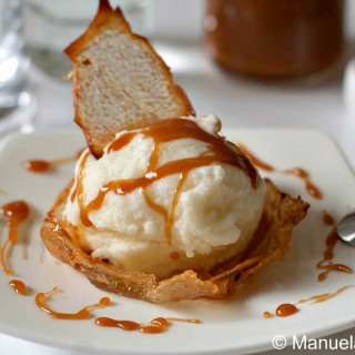 Pear Ice Cream in Pear Wafer Basket with Salted Caramel Sauce