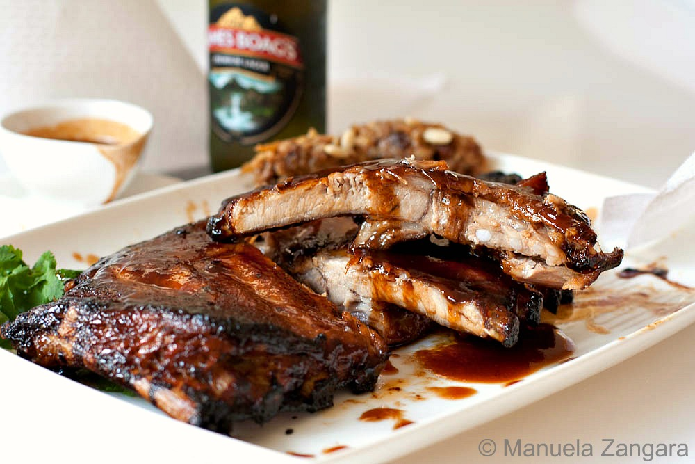 Balsamic, maple & miso glazed pork spare ribs with Sweet & Sour Cauliflower Quenelles