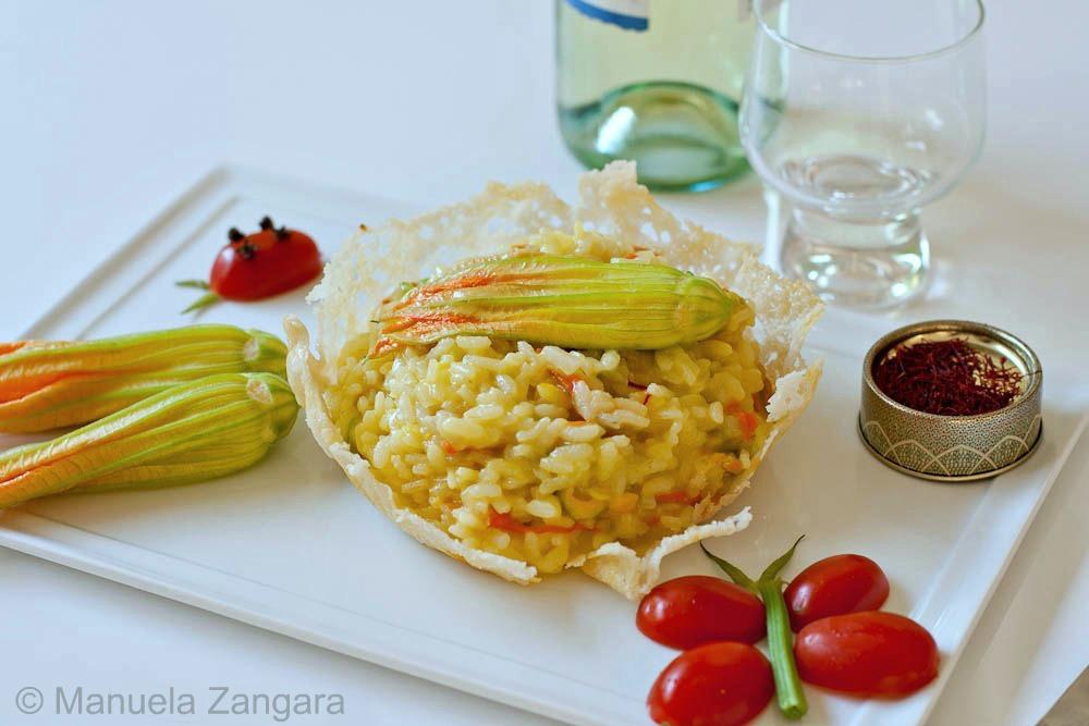 Zucchini Flower and Saffron Risotto
