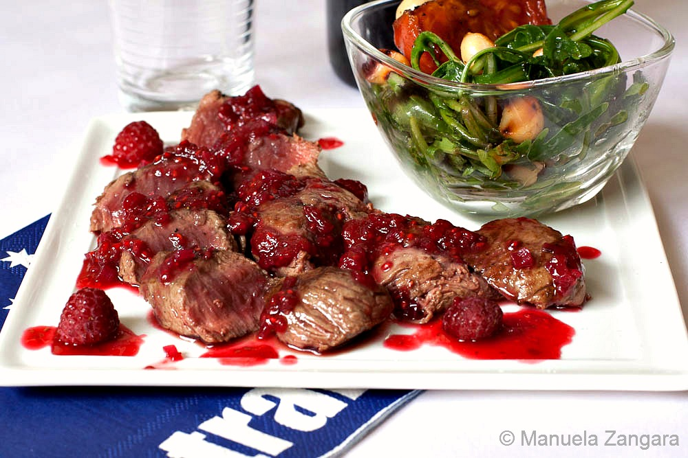 Seared Kangaroo with Raspberry Glaze