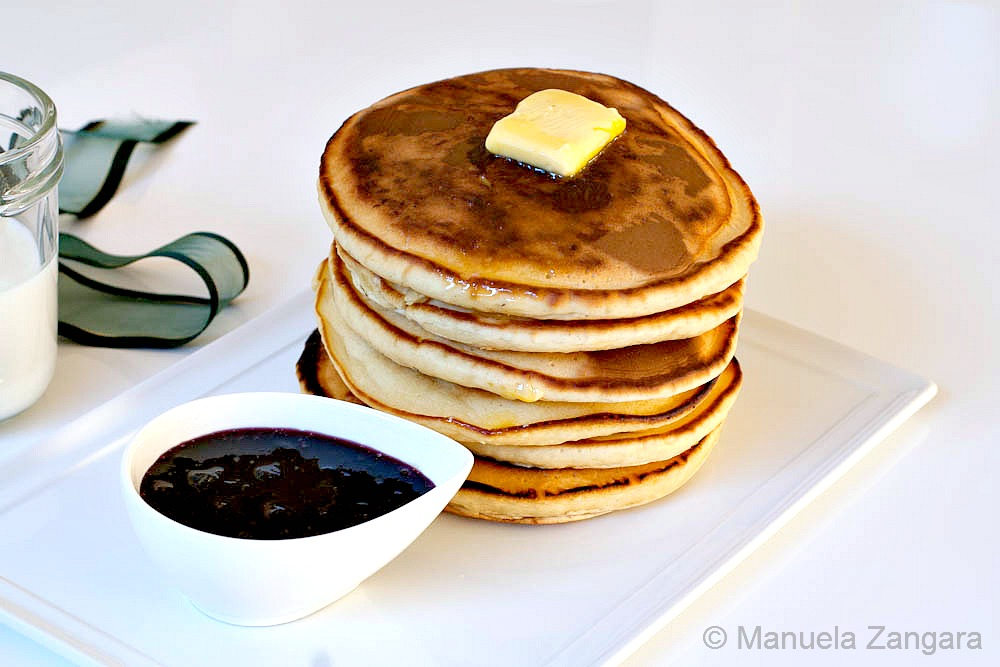 Whey Pancakes with Blueberry Maple Syrup