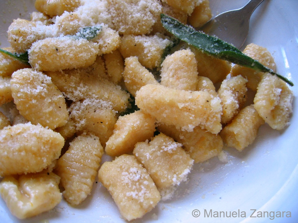 Pumpkin gnocchi with butter and sage