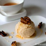 Blue Borage Honey Ice Cream with Hioney Glazed Walnuts