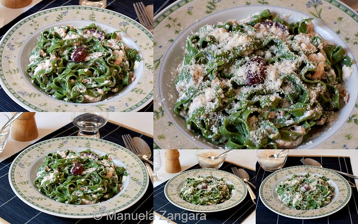 Green tagliatelle with tuna and ricotta