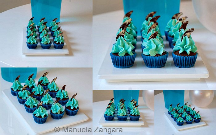 Chocolate and Vanilla Shark Mini Cupcakes
