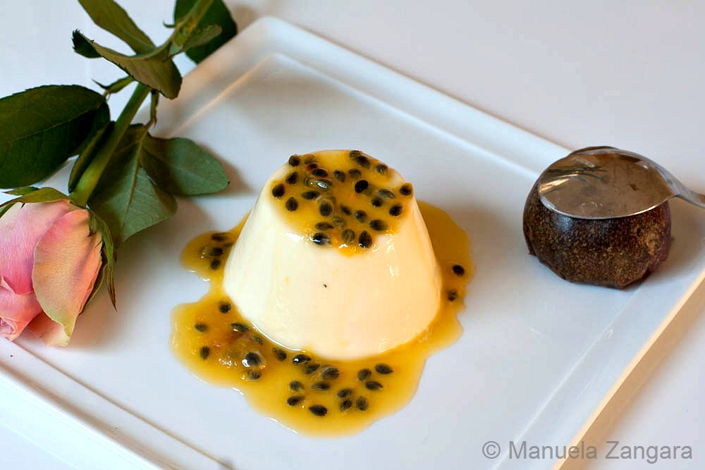 Vanilla Panna Cotta with Passion Fruit Coulis