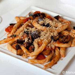 Busiati with eggplant and garlic & thyme breadcrumbs