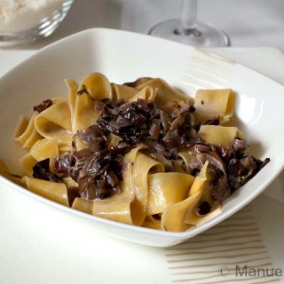 Pappardelle with radicchio and speck