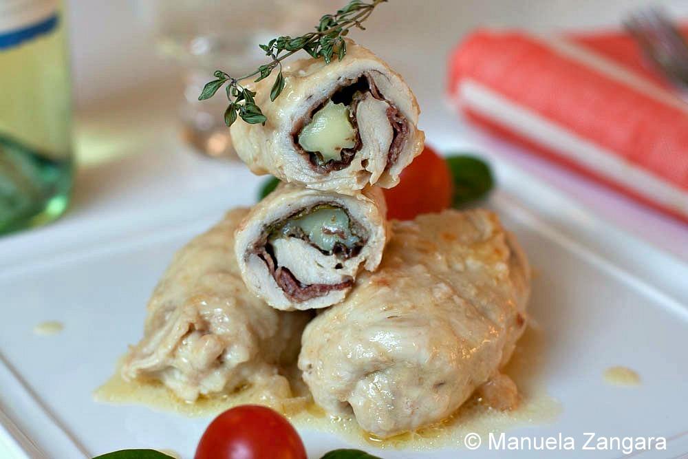 Chicken Involtini with Stracchino, Spinach and Speck