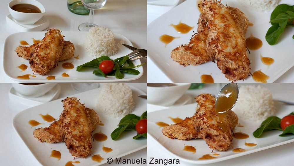 Coconut chicken tenders with apricot sauce