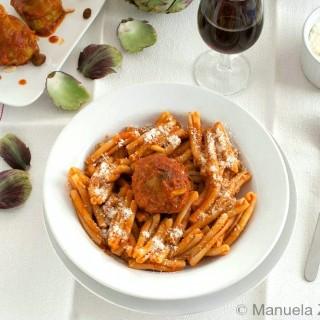 Pasta with Sicilian Stuffed Artichokes