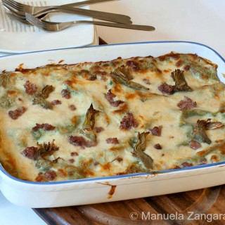 Green Lasagne with Stracchino, Artichokes and Sausage