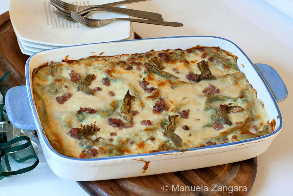 Green Lasagne with Stracchino, Artichokes and Sausage