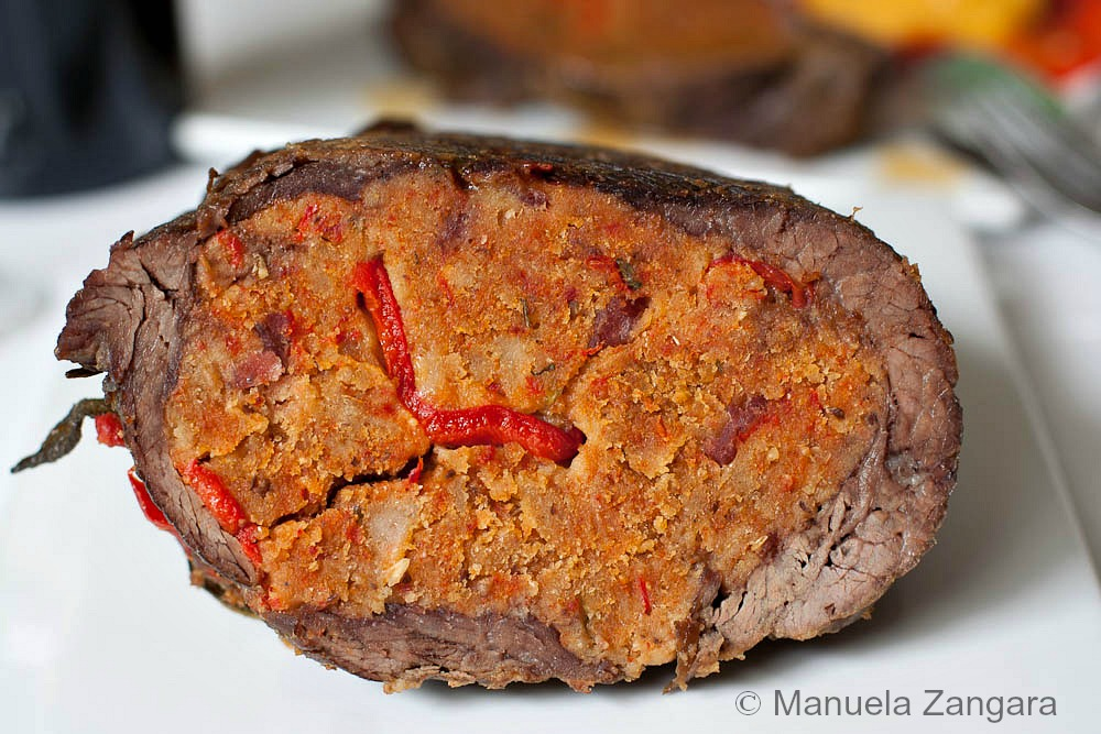 Capsicum stuffed Flank Steak