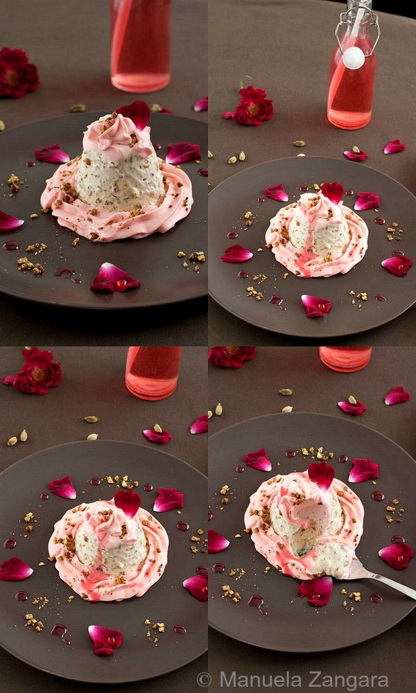 Pistachio and Cardamom Semifreddo with Rose Cream