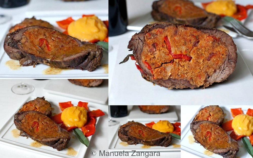 Capsicum stuffed Flank Steak