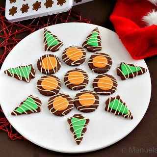 CHOCOLATE COOKIES WITH ORANGE AND MINT GLAZE