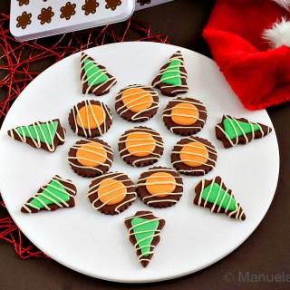Chocolate Cookies with Orange and Mint Glazes