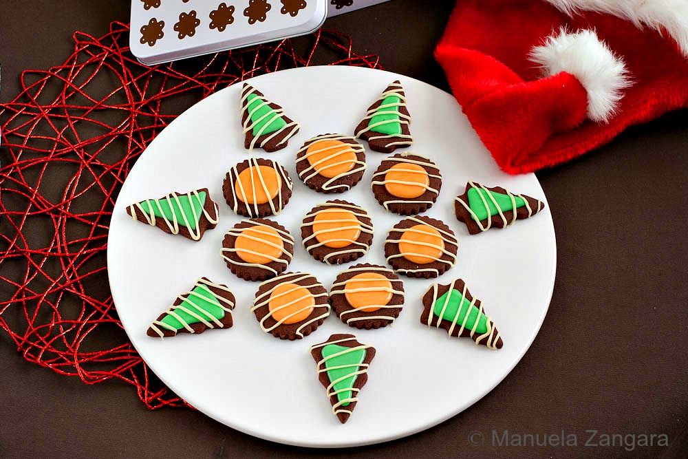 Chocolate Cookies with Orange and Mint Glazes