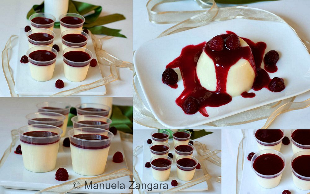 White Chocolate Panna Cotta Shooters with Raspberry Coulis