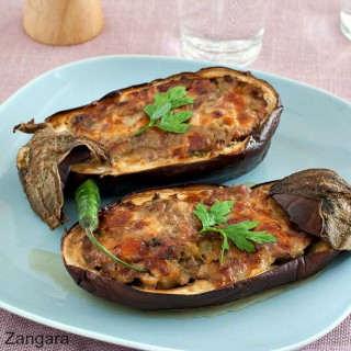 Sausage and Smoked Scamorza Stuffed Eggplant