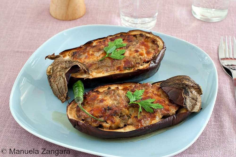 Sausage and Smoked Scamorza Stuffed Eggplant