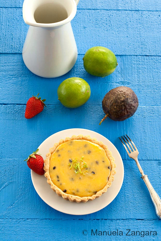 Passion fruit Curd and Lime Tarts