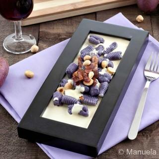 Purple Gnocchi with Parmigiano Reggiano Fondue, Crunchy Speck and Toasted Hazelnuts