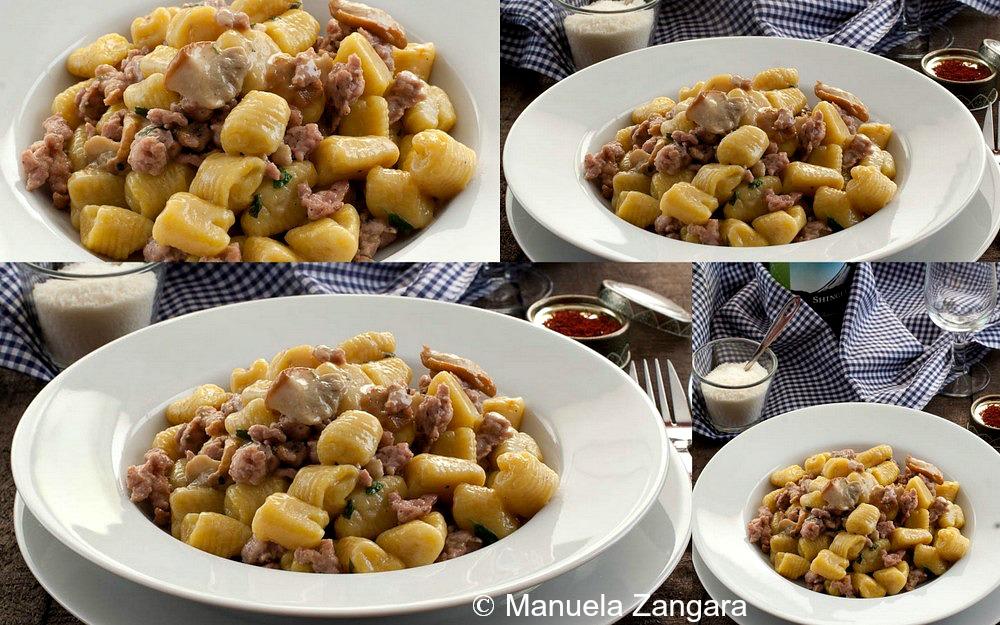 Saffron Potato Gnocchi with Sausage and Porcini