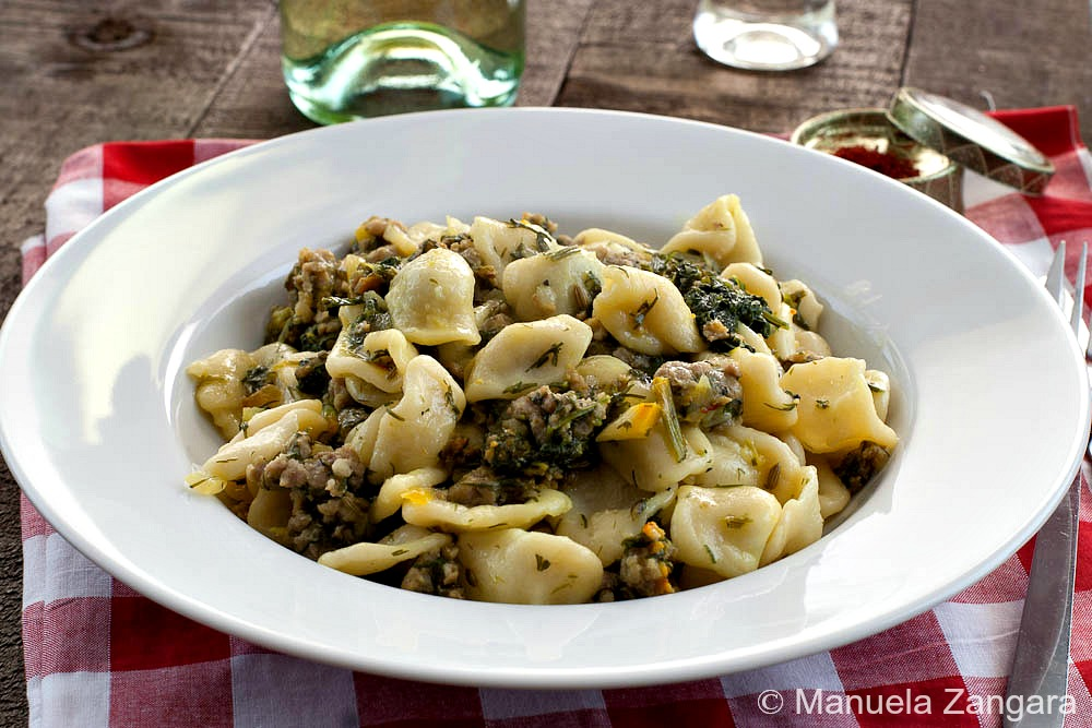 Orecchiette with sausage and fennel tops