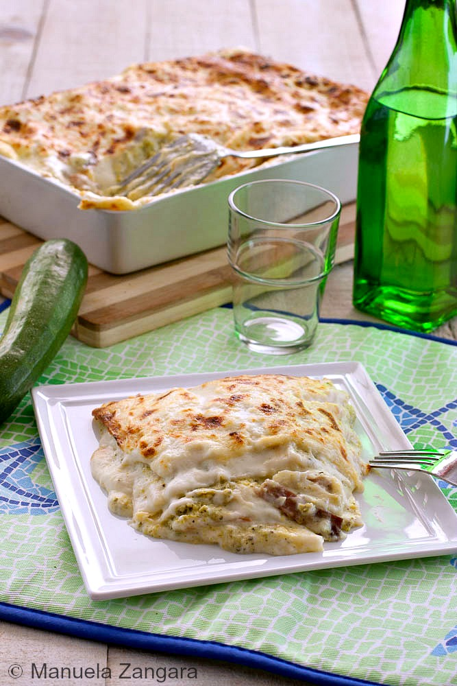 Lasagne with zucchini pesto, speck and smoked scamorza
