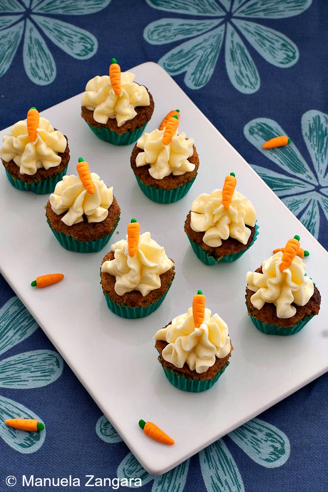 mini carrot cake cupcakes with cream cheese frosting
