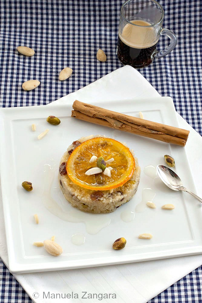 Couscous Pudding with Candied Oranges