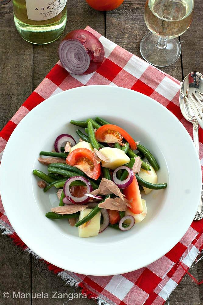 Green bean, tomato and potato salad