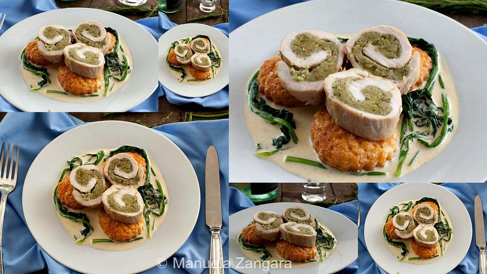 Herb filled Chicken Rolls with Puff Pastry