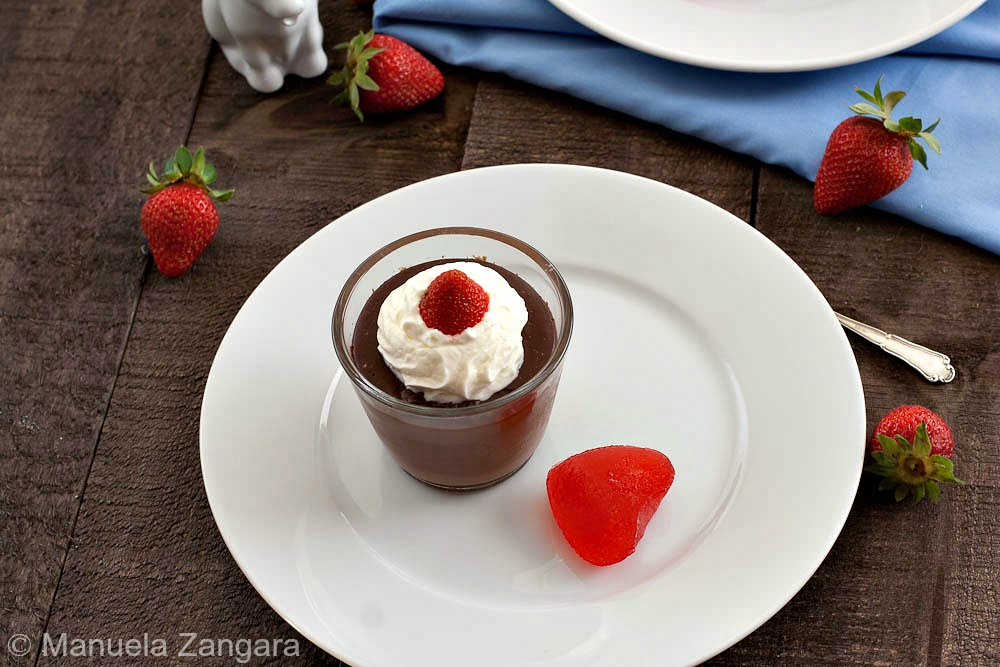 Chocolate Budino with Strawberry Hearts