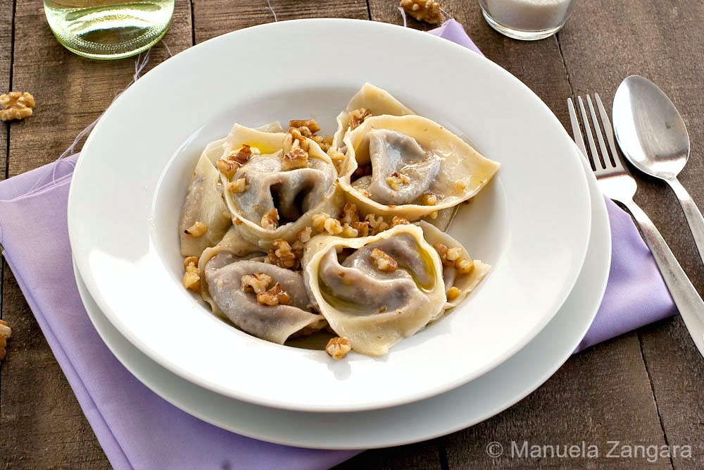 Radicchio and Gorgonzola Tortelloni with Butter and Walnuts